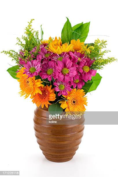 Fresh and colorful bouquet in wooden case