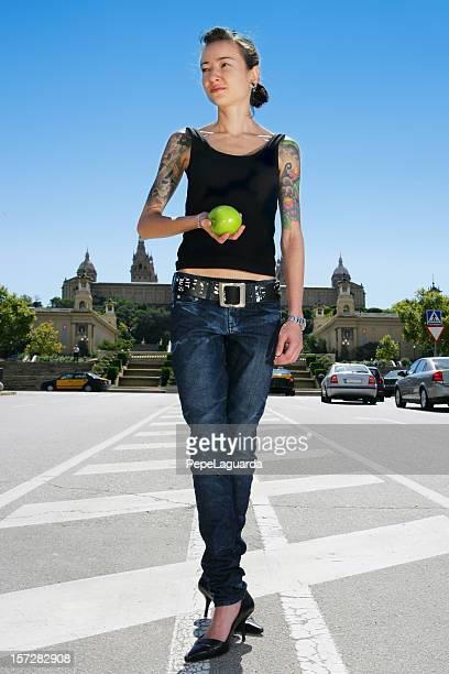 Fresh apple & Barcelona tourism