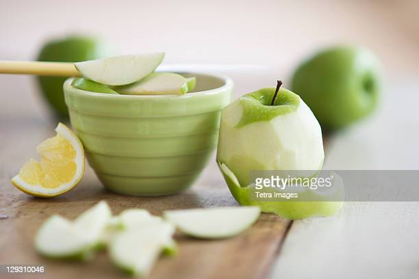 Fresh apples peeled for baking