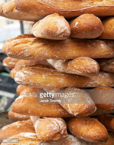 Fresh artisan baguettes : Stock Photo