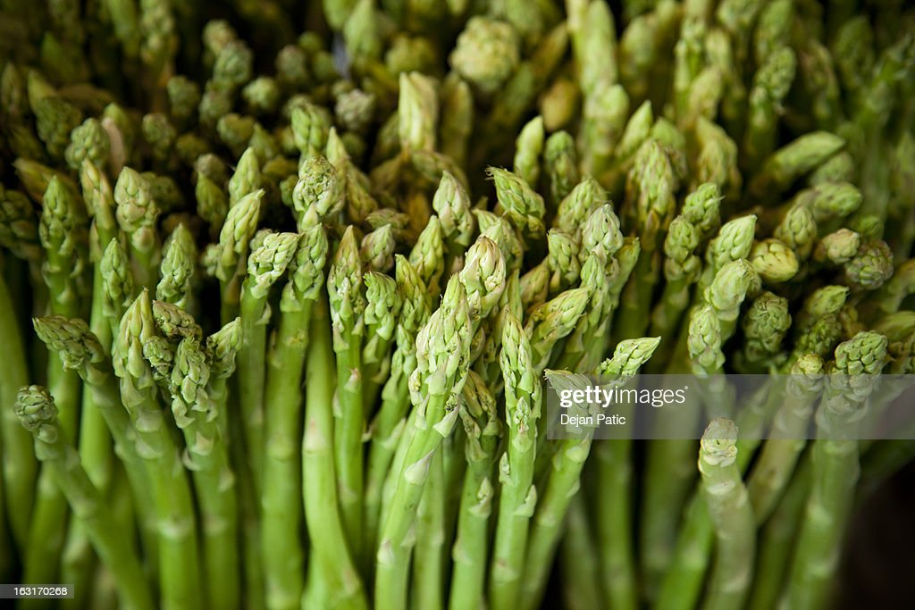 fresh asparagus at farmers market