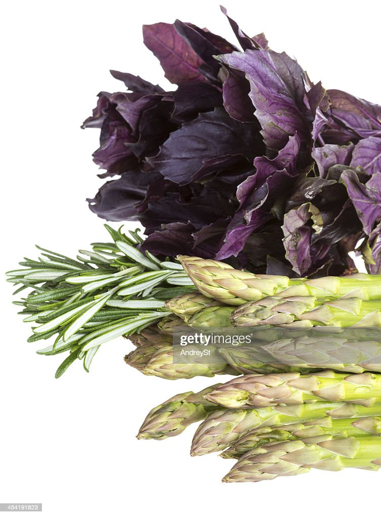 fresh asparagus spears with rosemary and basil isolated on white : Stock Photo