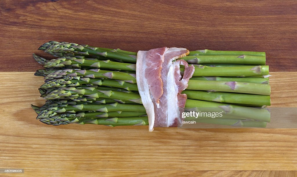 Fresh Asparagus with Bacon : Stock Photo