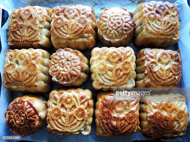 Fresh baked Chinese mooncakes