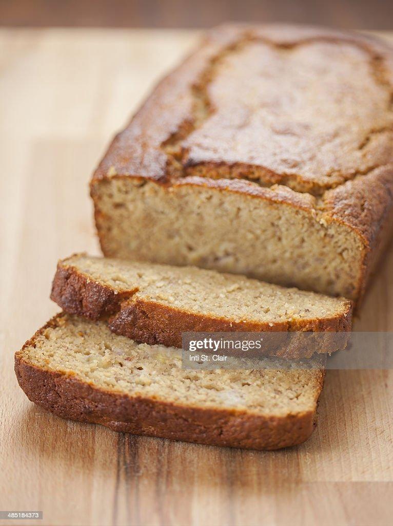 Fresh baked gluten free banana bread : Stock Photo