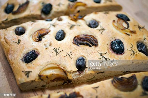 Fresh baked olive bread