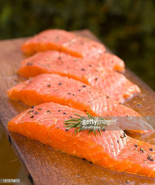 Fresh Barbeque Salmon Fish, Cooking Seafood