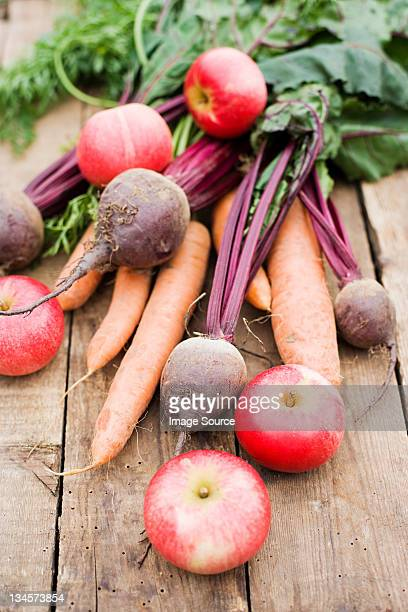 Fresh beetroot, carrot and apples