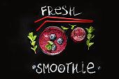 Fresh Berries Smoothie on Chalkboard Background