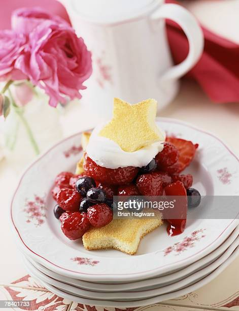 Fresh berries with shortcake stars