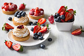 Fresh berry tarts with strawberry and blueberry