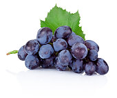 Fresh blue grapes with green leaf isolated on white background