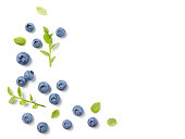 Fresh ripe blueberries and leaves, berry ornament frame on white background, closeup, top view