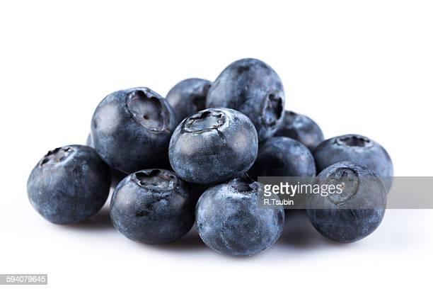 Fresh blueberries on white