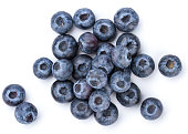 A pile of Fresh Blueberry isolated on white background.