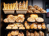 Fresh bread on shelves in a bakery