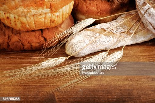 fresh breads and wheat : Foto de stock