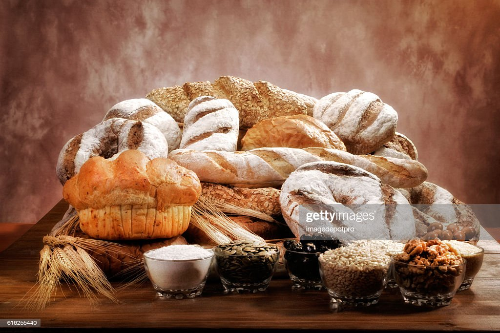 fresh breads arrangement : Foto de stock