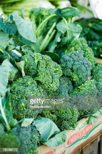 Fresh broccoli in crate : Stock Photo