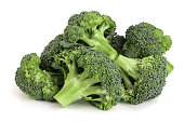 fresh broccoli isolated on white background close-up. Top view.
