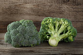 Fresh broccoli on a wooden background, green