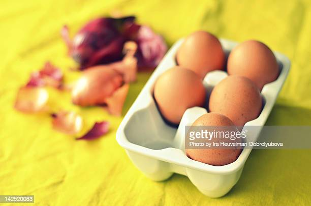 Fresh brown chicken eggs and onion peel