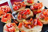 Fresh Bruschetta with tomato on a plate