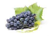 Fresh bunch of grapes with leaves isolated on white background