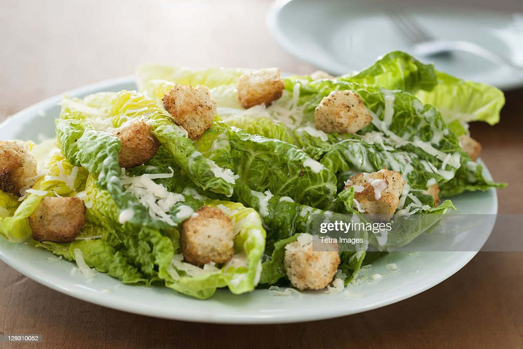 Fresh caesar salad on plate : Stock Photo