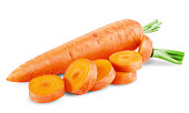 fresh carrots isolated on white background. Clipping Path