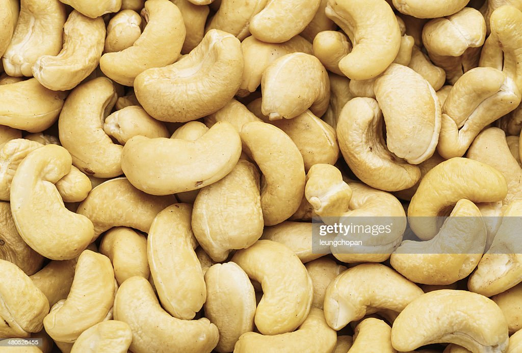 Fresh cashew nuts close up : Stock Photo