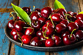 Fresh cherry on black plate on wooden blue background