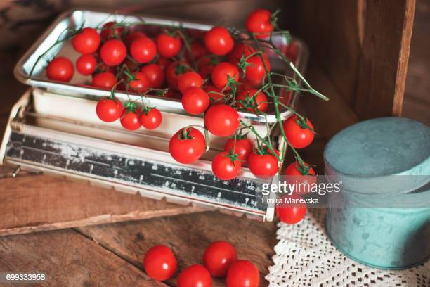 Fresh Cherry Tomatoes on Weight scale