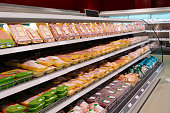 Fresh chicken meat on supermarket shelf, all logos removed