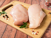 Fresh chicken meat on wooden board on table. Selective focus, horizontal