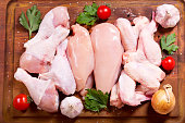 fresh chicken meat on wooden board, top view