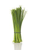 A Bunch of Fresh Chives Isolated on a White Background