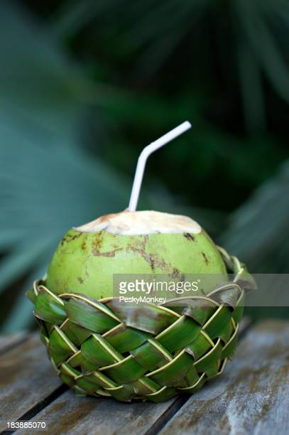 Fresh Coco Gelado Drinking Coconut in Woven Basket