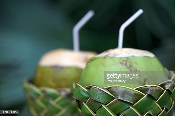 Fresh Coco Gelado Drinking Coconuts in Woven Basket