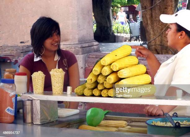 Fresh corn on the cob Being sold in Mexico