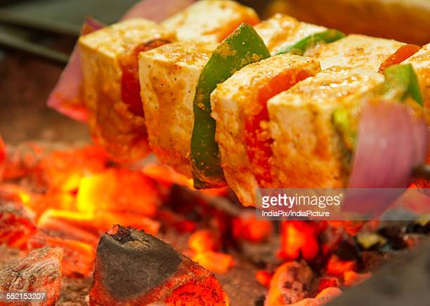 Fresh cottage cheese kabab being barbecued