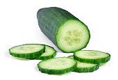 Fresh cucumber, isolated on white. Chopped cucumber.
