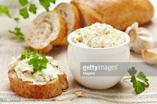 fresh curd cheese and bread : Stock Photo