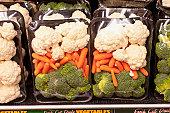 Fresh cut vegetables in packages