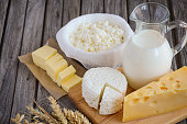 Fresh dairy products - milk, cheese, butter and cottage cheese with wheat on rustic wooden background, selective focus, copy space