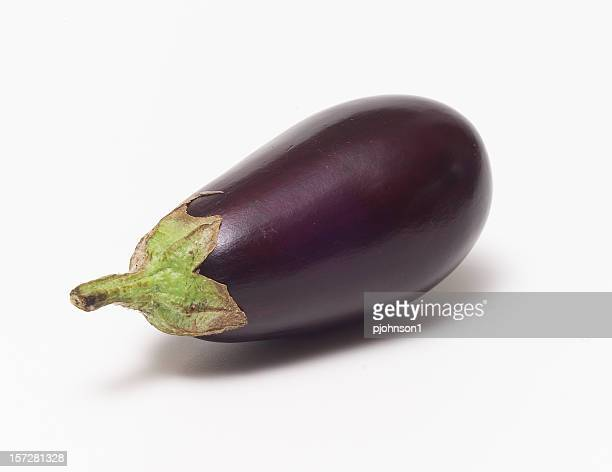 A fresh eggplant with a white background