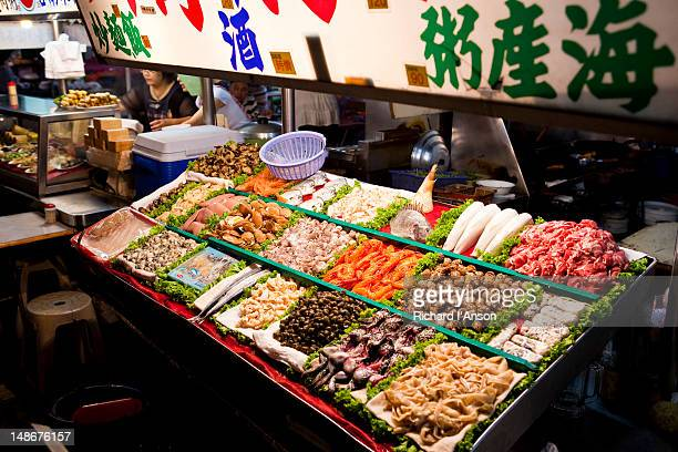 Fresh fish displayed at food stall at Liuhe Night Market.