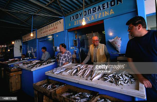 Fresh fish for sale at the fish market on Aegina Island.