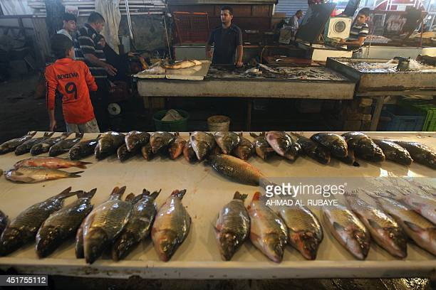 Fresh fish is displayed at a local market on July 6 2014 in the Iraqi capital Baghdad during the Muslim holy fasting month of Ramadan AFP PHOTO/AHMAD...