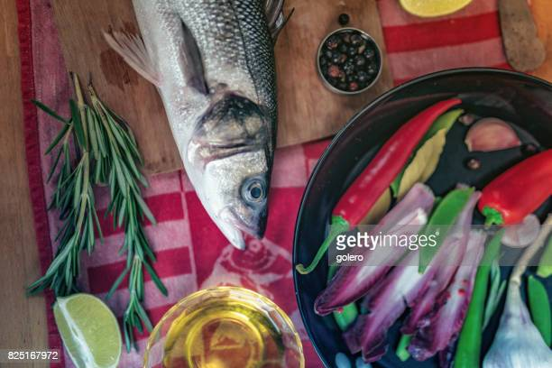 fresh fish on kitchentable